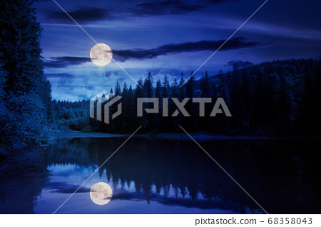 scenery around the lake in mountains at night. 68358043