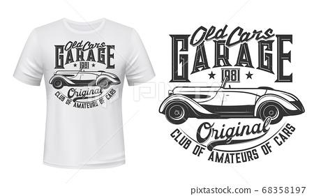 Retro car garage station t-shirt print vector 68358197