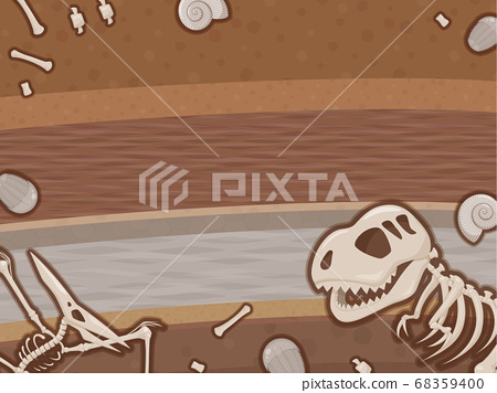 공룡 화석이 묻힌 지층의 일러스트 _ 프레임 68359400