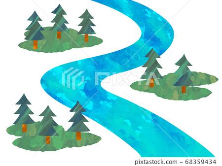 벡터 깨끗한 강과 소나무 일러스트 68359434