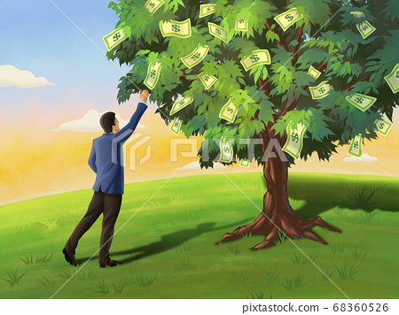 Businessman and money tree 68360526