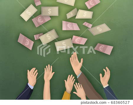 Raised arms and banknotes 68360527