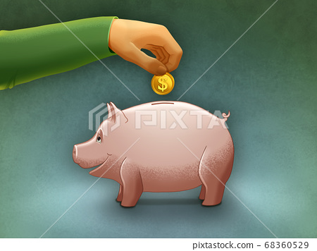 Putting a coin into a piggy bank 68360529
