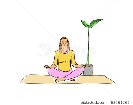 Woman is engaged in yoga, sport. Meditation zen 68361263