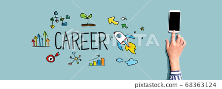 Career with person using smartphone 68363124