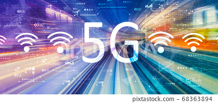 5G network with high speed motion blur 68363894