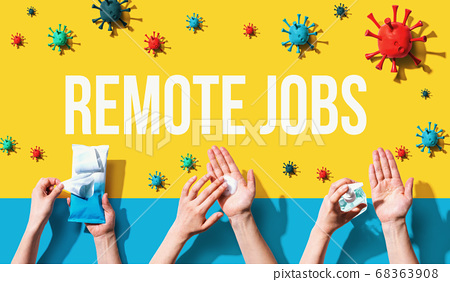 Remote Jobs theme with person washing their hands 68363908