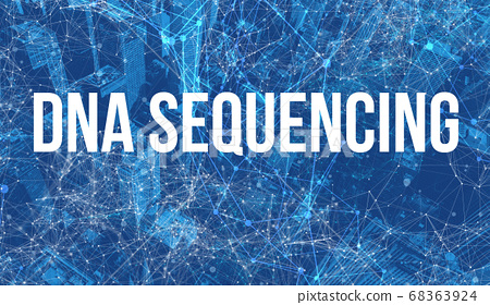 DNA Sequencing theme with abstract cityscape 68363924