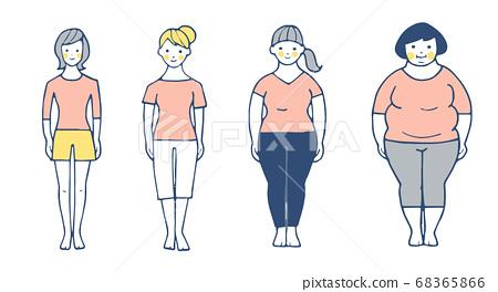 다양한 체형의 4 명의 여성 68365866