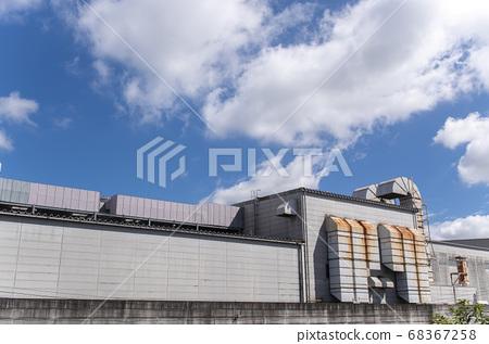 藍天,白雲和工廠背景素材 68367258