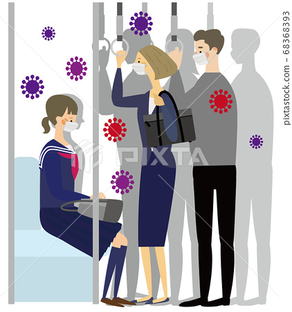 人們在擁擠的火車上戴著口罩,在那裡對病毒進行了全面檢查 68368393