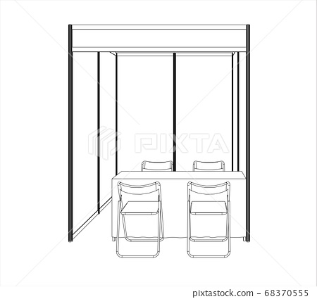 Exhibition face-to-face basic booth line drawing 68370555