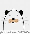 可愛的東方水彩卡通動物 68371604