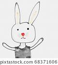 可愛的東方水彩卡通動物 68371606
