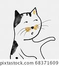 可愛的東方水彩卡通動物 68371609