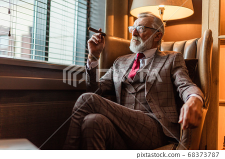 Serene concentrated mature male architector with grey-haired bea 68373787