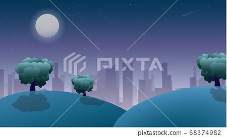 Night Landscape View, Cartoon Vector, Moonlight, Starlight, Calm Ambience 68374982