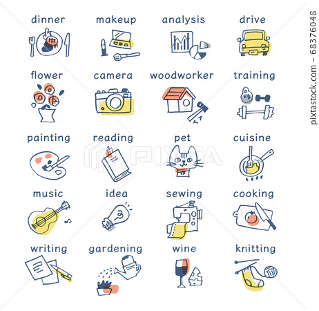 Various hobby/lifestyle icon sets 68376048
