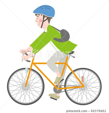 자전거를 타는 헬멧 남성 68376662