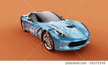 Front view of a blue sport concept car on orange background. 68378349