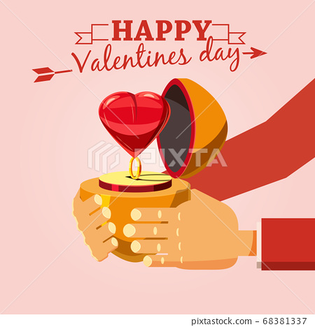 Decoration ring with a heart on a Valentine s Day gift, Cartoon style, vector illustration 68381337