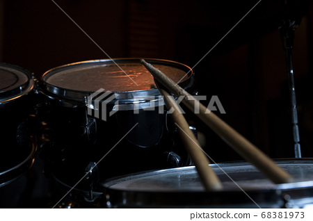 Drumsticks and Drums. Music and musical instruments in music studio 68381973
