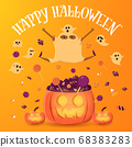 Little ghost and black boy in ghost costume jump on the pumpkin with pile of candy. Halloween vector illustration. 68383283