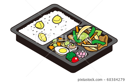 Bento of stir-fried vegetables and chestnut rice for take-out sale 68384279