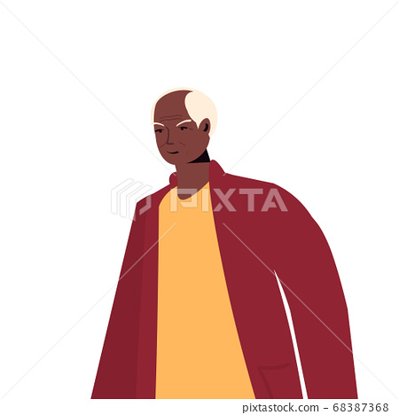 old african american man in casual trendy clothes senior male cartoon character 68387368
