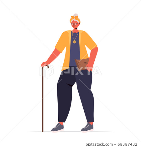 old woman in casual trendy clothes with cane senior female cartoon character standing pose 68387432