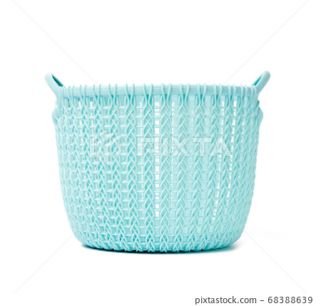 round blue laundry basket at home isolated on 68388639