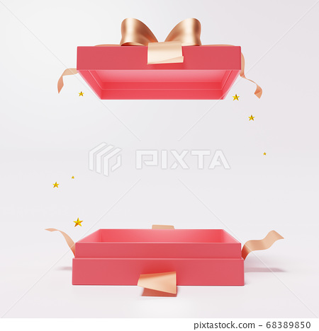 Red open gift box with ribbon  on white background 68389850