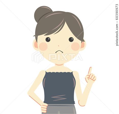 舉起食指上半身的女人,夏天的衣服吊帶背心 68390973