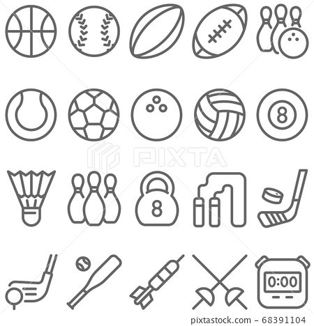 Sport icon illustration vector set. Contains such icon as Football, Soccer, Bowling, Golf, Volleyball , Billiards, Hockey, Basketball and more. Expanded Stroke 68391104
