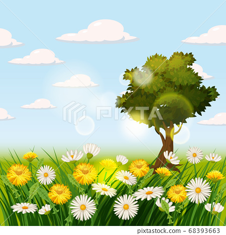 Spring beautiful scenery, fields, chamomile flowers, dandelions, clouds, cartoon style, vector, illustration, isolated 68393663