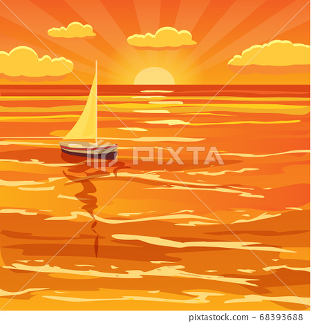 Beautiful sunset seascape, waves, sail boat, clouds 68393688