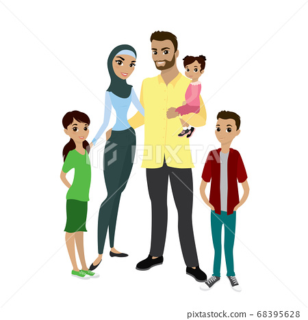 Happy muslim family- parents,their son and 68395628