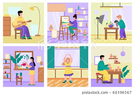 Set of peoples free time activities and hobbies flat cartoon vector illustration. 68396567