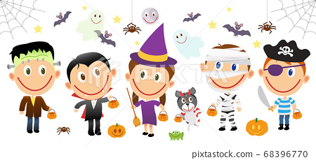 Disabled children halloween characters set. Vector 68396770