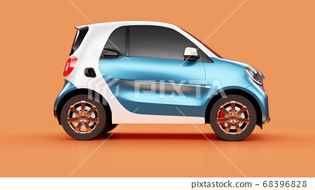 Side view of eco blue concept car on orange background 68396828