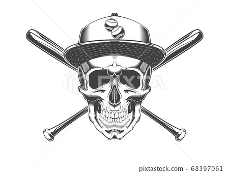 Vintage monochrome skull with baseball cap and crossed baseball bats illustration. Isolated vector template 68397061