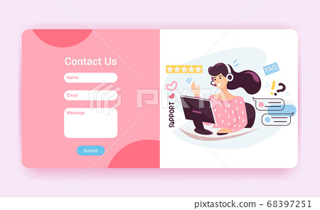 Tech support landing page template with contact us form. Customer service operator with headset talking to client, website mockup. Cartoon vector illustration 68397251