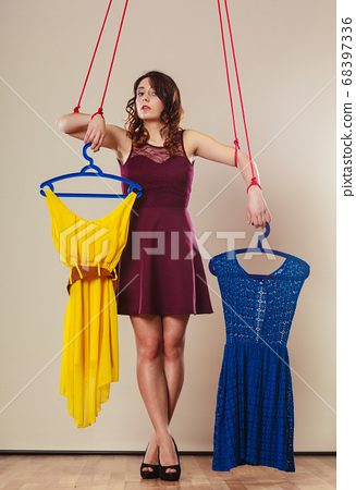 Addicted to shopping woman girl marionette with 68397336