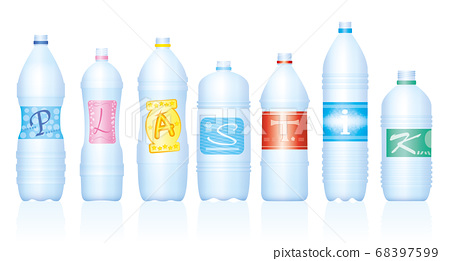 Plastic bottles which make the word PLASTIK. German labeling. Empty water bottles, symbolic for excessive consumption and waste of plastics. Isolated vector on white background. 68397599