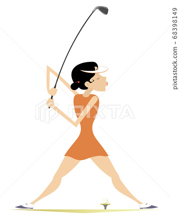 Young golfer woman on the golf course illustration. Cartoon golfer woman aiming to do a good kick isolated on white 68398149