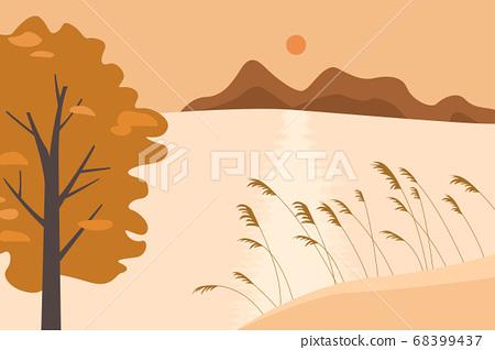 秋湖风景矢量图 68399437