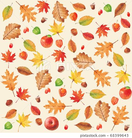 秋季植物水彩楓葉圖案 68399643