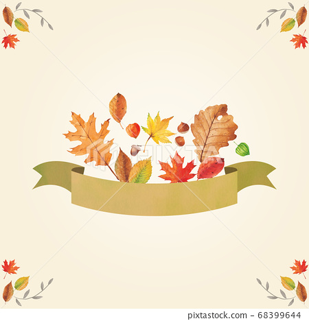 秋季植物水彩絲帶和樹葉 68399644