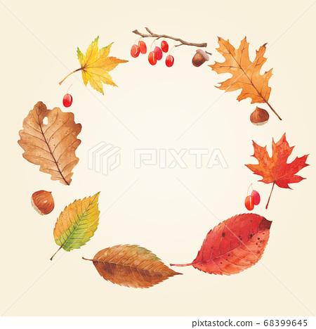 秋天的植物水彩楓葉邊框 68399645