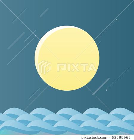 韓國傳統插畫-滿月和大海 68399963